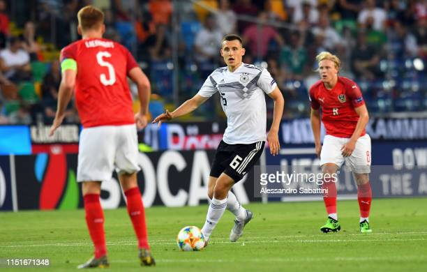 Maximilian Eggestein of Germany in action during the 2019 UEFA U-21 Group B match between Austria and Germany at Stadio Friuli on June 23, 2019 in...