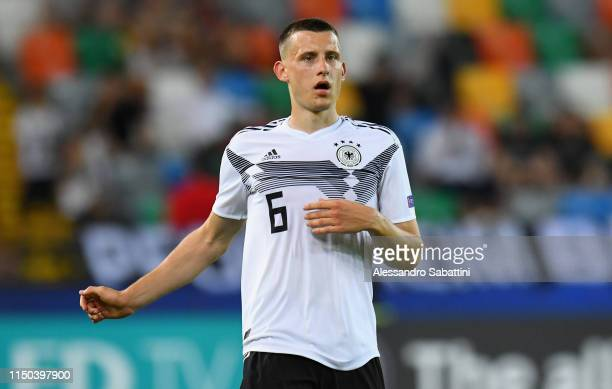 Maximilian Eggestein of Germany looks on during the 2019 UEFA U-21 Group B match between Germany and Denmark at Stadio Friuli on June 17, 2019 in...