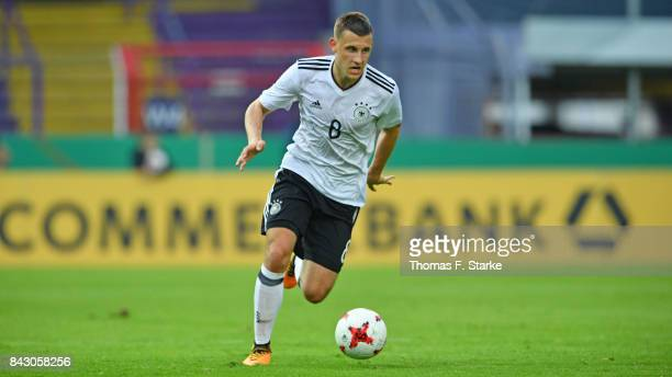 Maximilian Eggestein of Germany runs with the ball during the UEFA Euro 2019 Qualifier match between Germany U21 and Kosovo U21 at Osnatel Arena on...