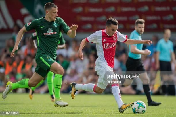 Maximilian Eggestein of SV Werder Bremen Abdelhak Nouri of Ajax during the friendly match between Ajax Amsterdam and SV Werder Bremen at...