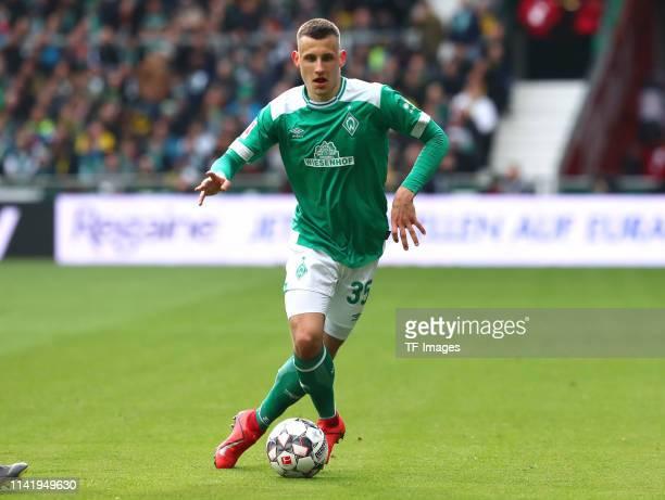 Maximilian Eggestein of SV Werder Bremen controls the ball during the Bundesliga match between SV Werder Bremen and Borussia Dortmund at Weserstadion...