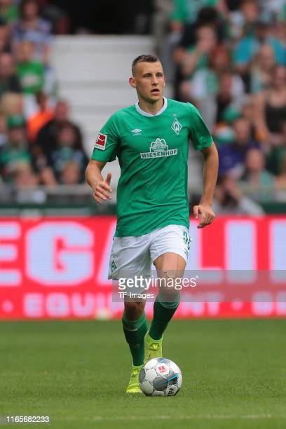 Maximilian Eggestein of SV Werder Bremen controls the ball during the Bundesliga match between SV Werder Bremen and FC Augsburg at Wohninvest...