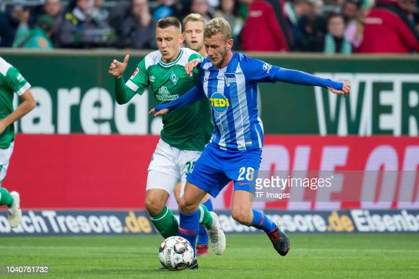 Maximilian Eggestein of Werder Bremen and Fabian Lustenberger of Hertha BSC battle for the ball during the Bundesliga match between SV Werder Bremen...