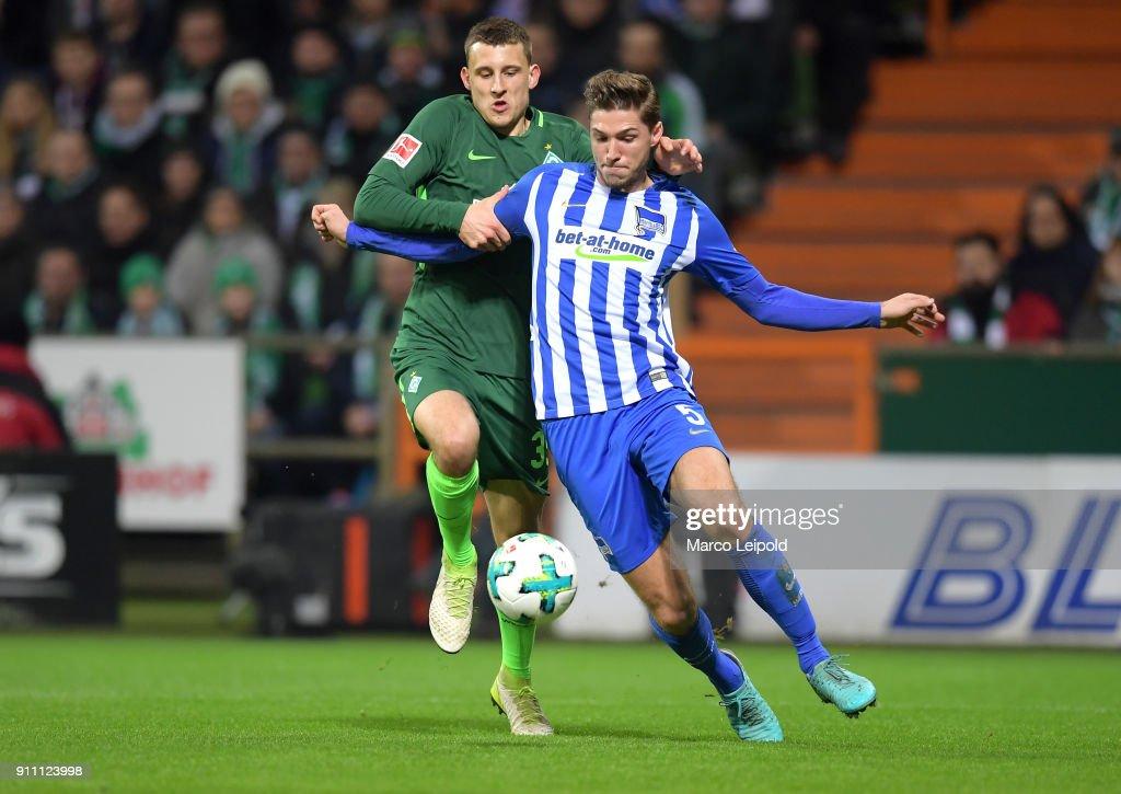 Maximilian Eggestein of Werder Bremen and Niklas Stark of Hertha BSC during the game between SV Werder Bremen and Hertha BSC on january 27, 2018 in Bremen, Germany.