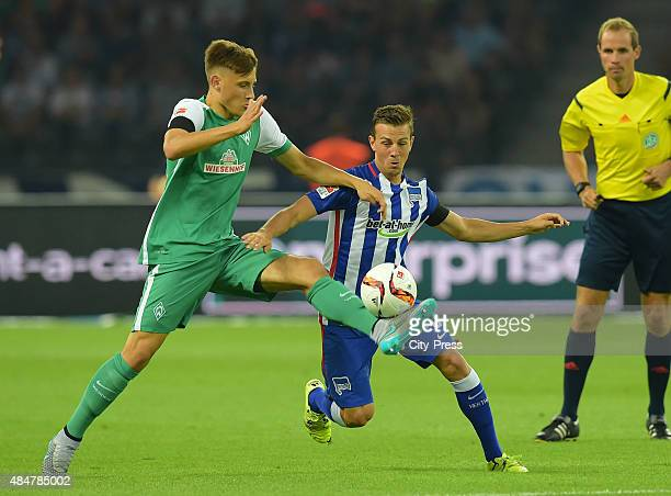 Maximilian Eggestein of Werder Bremen and Vladimir Darida of Hertha BSC during the game between Hertha BSC and Werder Bremen on August 21, 2015 in...