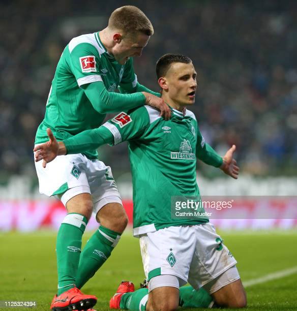 Maximilian Eggestein of Werder Bremen celebrates after scoring during the Bundesliga match between SV Werder Bremen and Eintracht Frankfurt at...