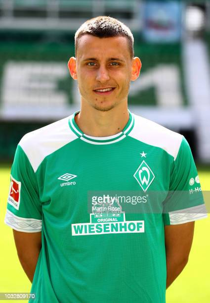 Maximilian Eggestein of Werder Bremen poses during the team presentation at Weser Stadion on September 13, 2018 in Bremen, Germany.