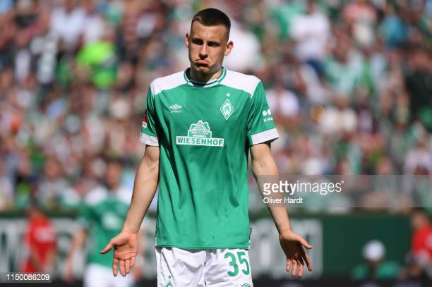 Maximilian Eggestein of Werder Bremen reacts during the Bundesliga match between SV Werder Bremen and RB Leipzig at Weserstadion on May 18, 2019 in...