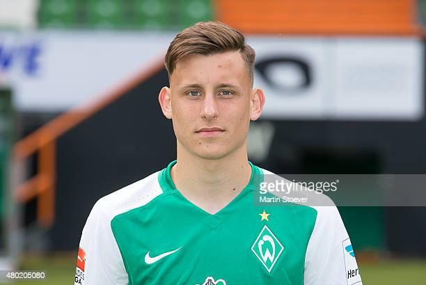 Maximilian Eggestein poses during the official team presentation of Werder Bremen at Weserstadion on July 10 2015 in Bremen Germany