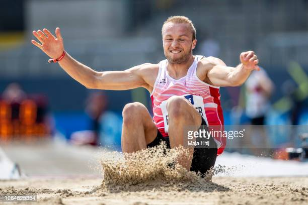 Maximilian Entholzner LAC Passau competes during men long jump final of the German Athletics Championships 2020 at Eintracht Stadion on August 09,...