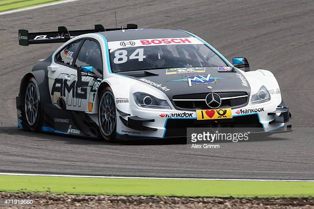 Maximilian Goetz of Germany and Mercedes Mücke Motorsport drives during a training session prior to the qualifying for the first round of the DTM...