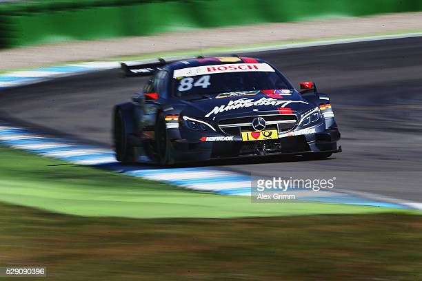 Maximilian Goetz of Germany and Mercedes team HWA drives during the free practice session ahead of race 2 of the DTM German Touring Car Hockenheim at...