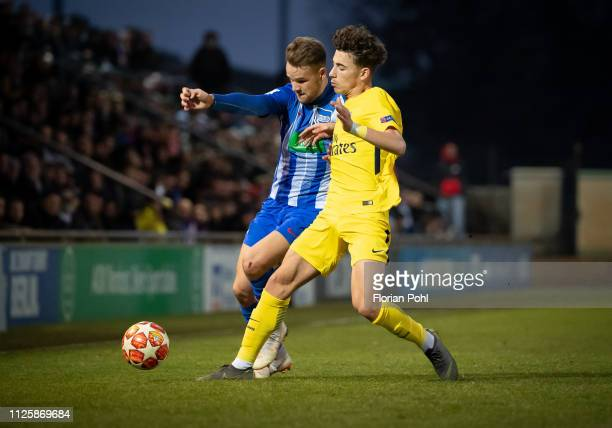 Maximilian Gurschke of Hertha BSC U19 and Adil Aouchiche of Paris St Germain during the game between Hertha BSC U19 against Paris St Germain U19 at...