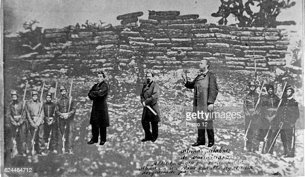 Maximilian I of Mexico , Tomas Mejia, and Miguel Miramon and firing squad, superimposed on photograph of their place of execution, at Queretaro.