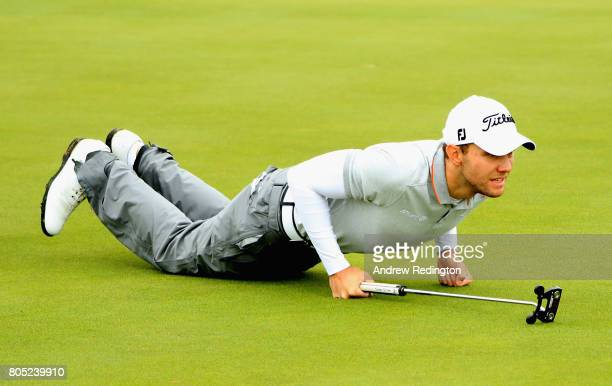 Maximilian Keiffer of Germany lines up a putt during day three of the HNA Open de France at Le Golf National on July 1 2017 in Paris France