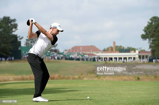 Maximilian Keiffer of Germany takes a tee shot during a practice round prior to the start of the 114th U.S. Open at Pinehurst Resort & Country Club,...