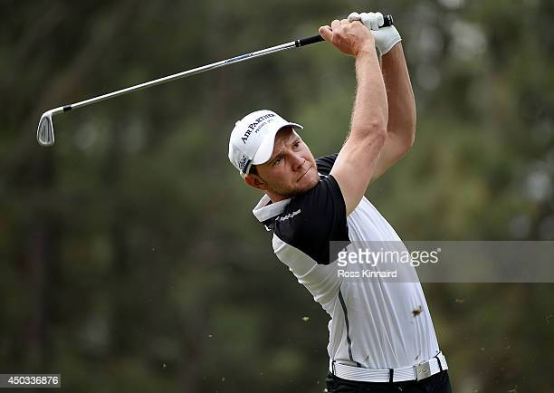Maximilian Keiffer of Germany takes a tee shot during a practice round prior to the start of the 114th US Open at Pinehurst Resort Country Club...