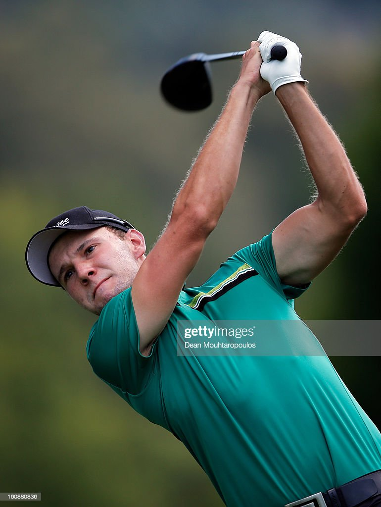 Maximilian Kieffer of Germany hits his tee shot on the 18th hole during Day One of the Joburg Open at Royal Johannesburg and Kensington Golf Club on February 7, 2013 in Johannesburg, South Africa.