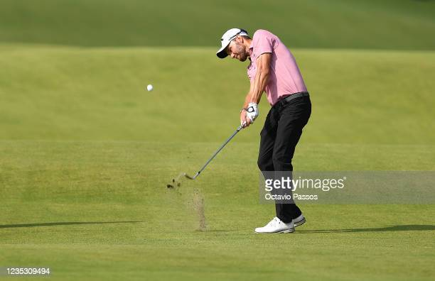 Maximilian Kieffer of Germany plays his second shot at the 18th hole during Day Two of the Dutch Open at Bernardus Golf on September 17, 2021 in...