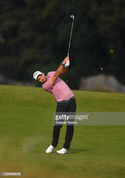 Maximilian Kieffer of Germany plays his second shot to the 9th hole during Day Two of the Dutch Open at Bernardus Golf on September 17, 2021 in...