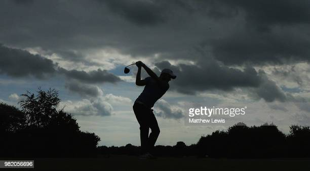 Mark Foster of England plays out of a bunker on the 1st hole during day three of the BMW International Open at Golf Club Gut Larchenhof on June 23...