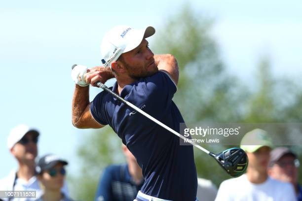 Maximilian Kieffer of Germany tees off on the 4th hole during the final round of the Porsche European Open at Green Eagle Golf Course on July 29 2018...