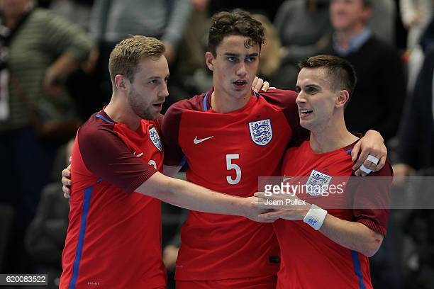 Maximilian Kilian of England bcelebrates with his team mates after scoring his team's third goal during the Futsal International Friendly match...