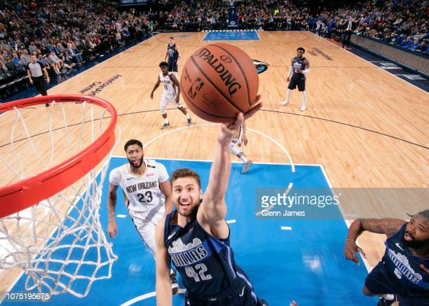 Maximilian Kleber of the Dallas Mavericks goes for layup against the New Orleans Pelicans on December 26 2018 at the American Airlines Center in...