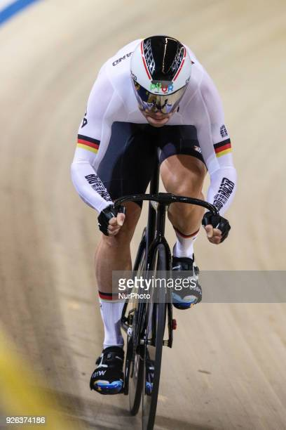 Maximilian Levy of Germany competes in Men`s sprint qualifying during the UCI Track Cycling World Championships in Apeldoorn on March 2 2018