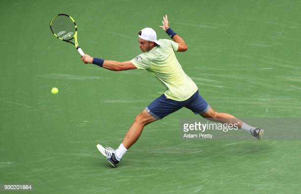 Maximilian Marterer of Germany hits a backhand during his match against Tomas Berdych of the Czech Republic during the BNP Paribas Open at the Indian...