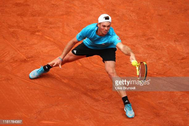 Maximilian Marterer of Germany plays a forehand in his mens singles first round match against Stefanos Tsitsipas of Greece during Day one of the 2019...