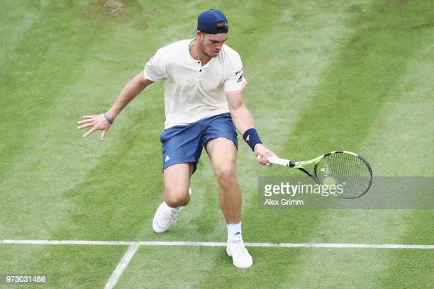 Maximilian Marterer of Germany plays a forehand to Viktor Galovic of Croatia Bernd Mahleruring day 3 of the Mercedes Cup at Tennisclub Weissenhof on...