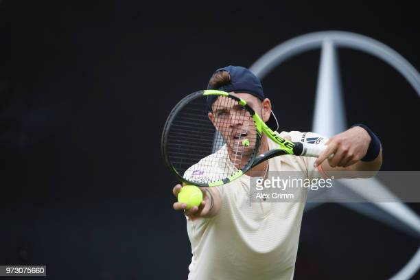 Maximilian Marterer of Germany prepares for a service during his match against Viktor Galovic of Croatia during day 3 of the Mercedes Cup at...