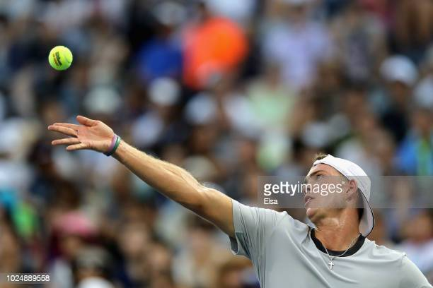 Maximilian Marterer of Germany serves the ball during his men's singles first round match against Kei Nishikori of Japan on Day Two of the 2018 US...
