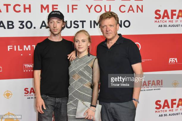 Maximilian Mauff, Elisa Schlott and Justus von Dohnanyi attend the 'Safari - Match Me If You Can' premiere on August 25, 2018 in Berlin, Germany.
