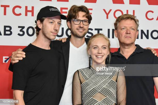 Maximilian Mauff, Rudi Gaul, Elisa Schlott and Justus von Dohnany attend the 'Safari - Match Me If You Can' premiere on August 25, 2018 in Berlin,...