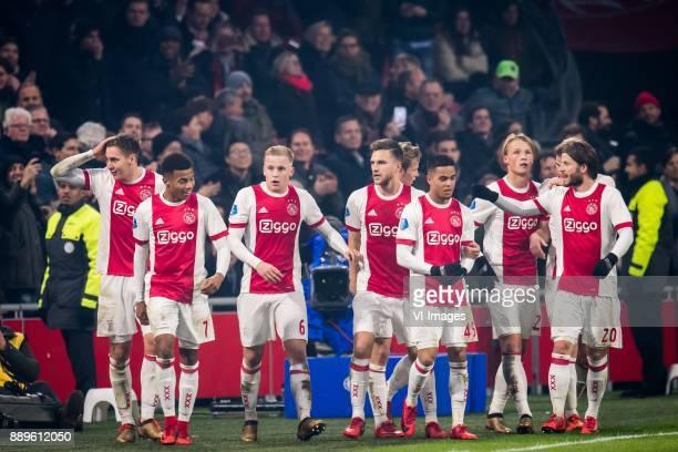Maximilian Max Wober of Ajax David Neres of Ajax Donny van de Beek of Ajax Joel Veltman of Ajax Frenkie de Jong of Ajax Justin Kluivert of Ajax...
