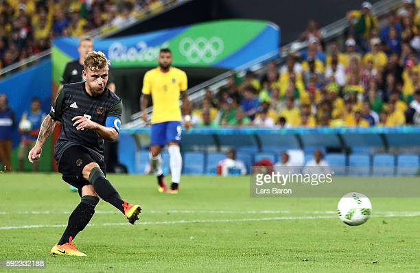 Maximilian Meyer of Germany scores during the Men's Football Final between Brazil and Germany at the Maracana Stadium on Day 15 of the Rio 2016...