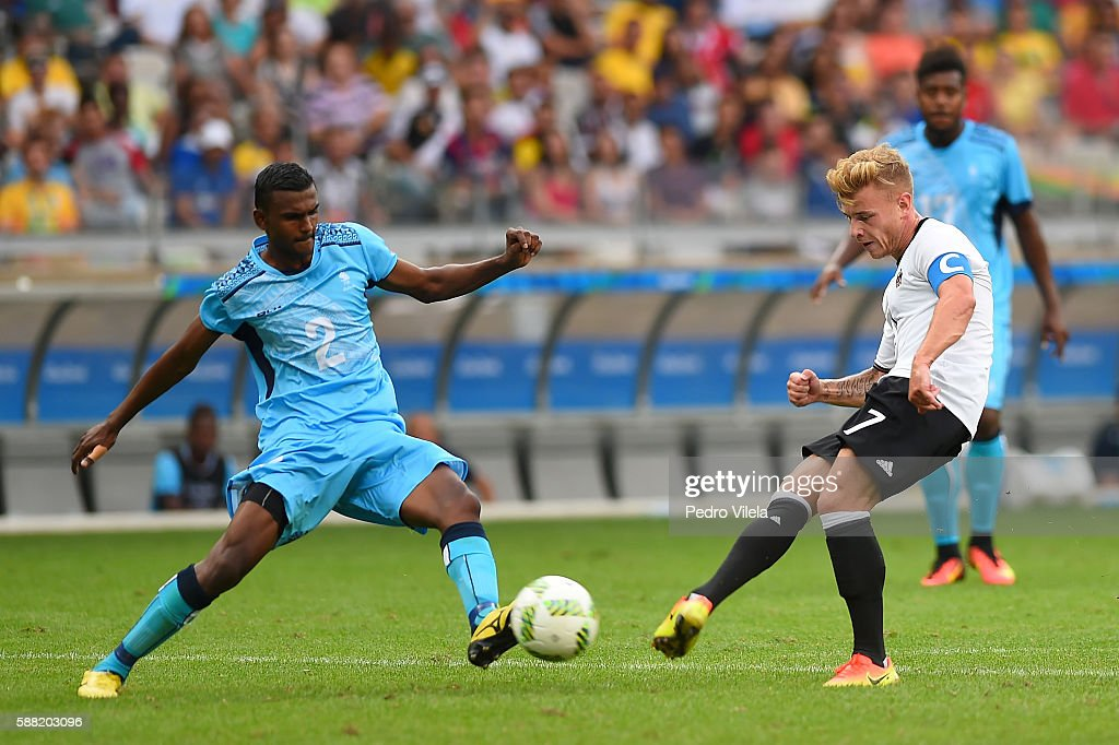 Maximilian Meyer of Germany shoots the ball past Praneel Naidu of Fiji during the Men's First Round Football Group C match between Germany and Fiji at Mineirao Stadium on August 10, 2016 in Belo Horizonte, Brazil.