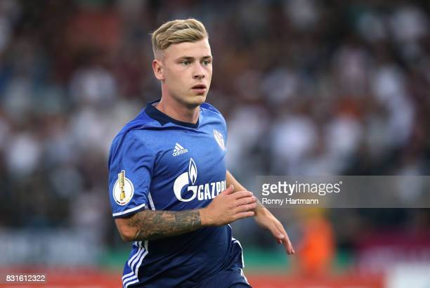 Maximilian Meyer of Schalke during the DFB Cup first round match between BFC Dynamo and FC Schalke 04 at FriedrichLudwigJahnSportpark on August 14...