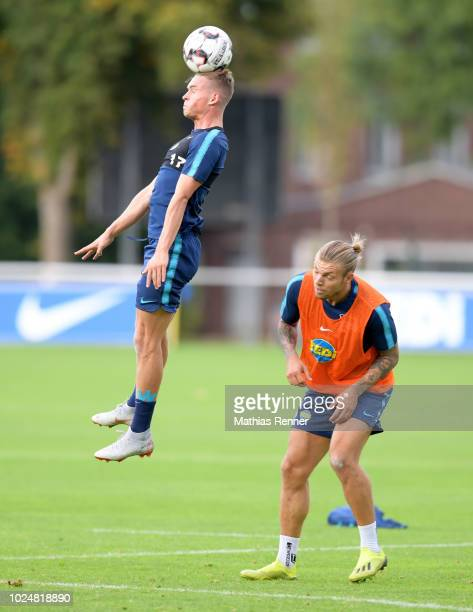 Maximilian Mittelstaedt and Alexander Esswein of Hertha BSC during the training at the Schenkendorfplatz on august 28 2018 in Berlin Germany