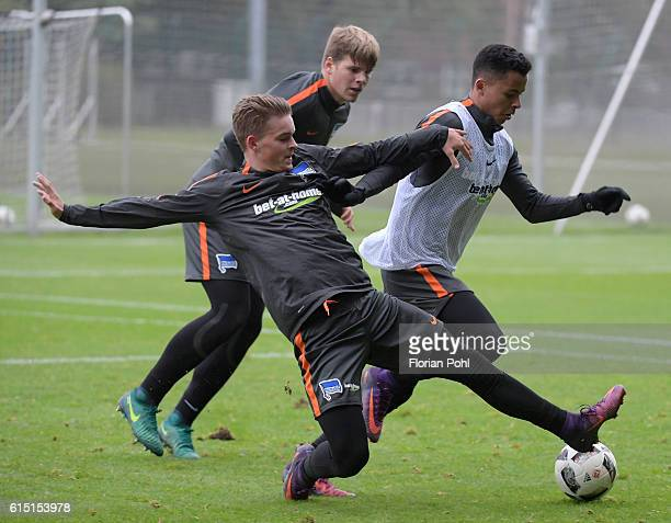 Maximilian Mittelstaedt and Allan of Hertha BSC during the training session on October 17 2016 in Berlin Germany