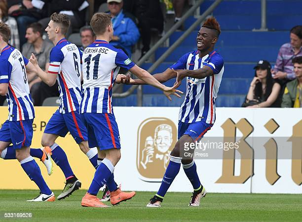 Maximilian Mittelstaedt and Jordan Torunarigha of Hertha BSC celebrate after scoring the 10 during the DFB juniors cup match between Hertha BSC and...