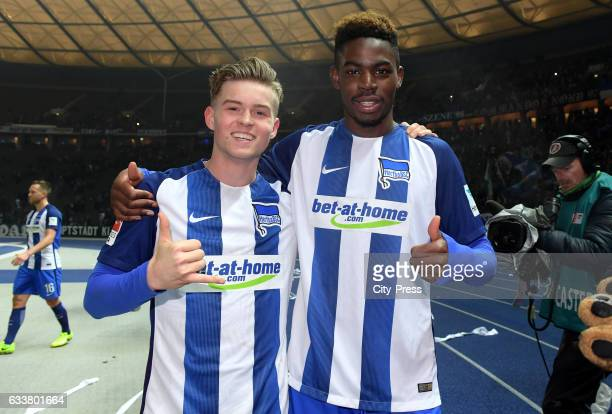 Maximilian Mittelstaedt and Jordan Torunarigha of Hertha BSC during the game between Hertha BSC and FC Ingolstadt 04 on February 4 2017 in Berlin...