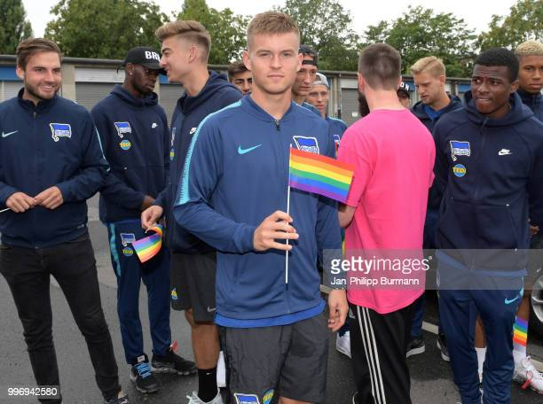 Maximilian Mittelstaedt in front of the office of Hertha BSC on july 12 2018 in Berlin Germany