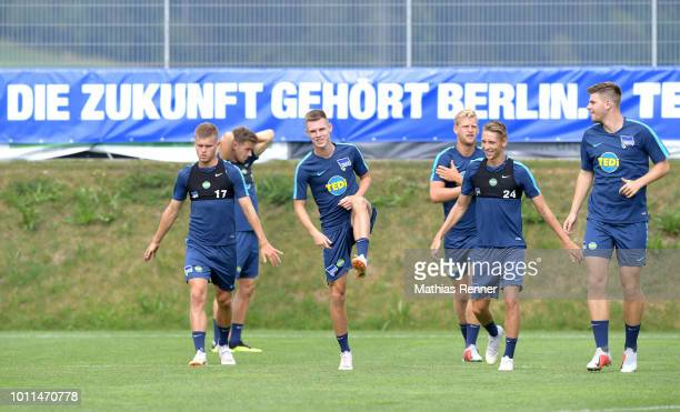 Maximilian Mittelstaedt Julius Kade Arne Maier Palko Dardai and Florian Baak of Hertha BSC during the training camp on August 5 2018 in Schladming...