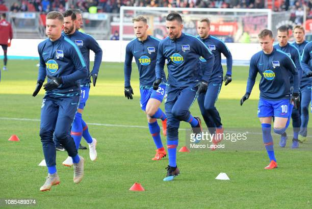 Maximilian Mittelstaedt Marvin Plattenhardt Arne Maier Vedad Ibisevic and Ondrej Duda of Hertha BSC before the game between the 1FC Nuernberg and...