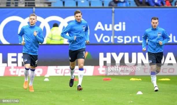 Maximilian Mittelstaedt Niklas Stark and Vladimir Darida of Hertha BSC before the Bundesliga game between Hamburger SV and Hertha BSC at...