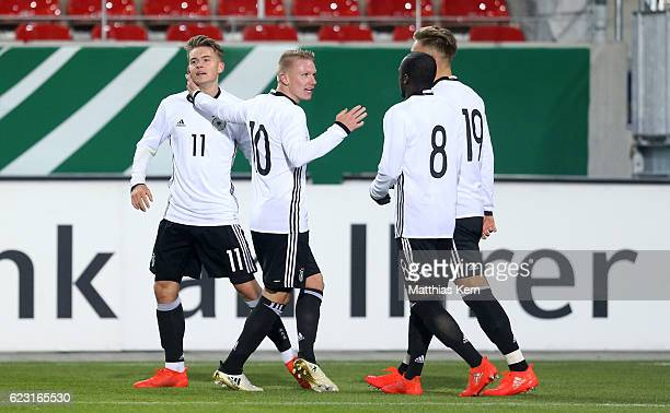 Maximilian Mittelstaedt of Germany jubilates with team mates after scoring the third goal during the U20 international friendly match between Germany...