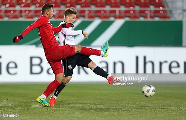 Maximilian Mittelstaedt of Germany scores the third goal during the U20 international friendly match between Germany and Poland at Westsachsenstadion...